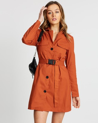 Missguided Belted Long Sleeve Utility Dress