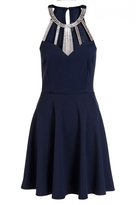 Quiz Navy Diamante Neck Trim Skater Dress