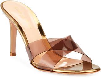 Gianvito Rossi Metallic Plexi Crisscross Mule Sandals