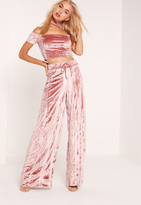 Missguided Pleated Velvet Wide Leg Trousers Pink