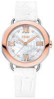 Fendi 36mm Selleria 18K Rose Gold Alligator Strap Watch