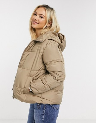 New Look hooded boxy puffer in camel