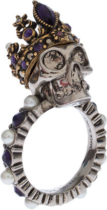 Alexander McQueen Crystal and Faux Pearl Embellished Queen Skull Ring Size 52.5