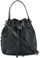 Moschino quilted logo plaque bucket bag - women - Leather - One Size