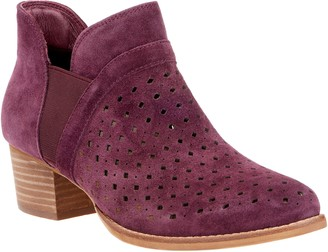 Earth Perforated Suede Booties - Keren