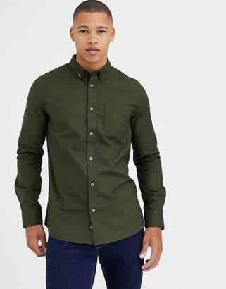 Burton Menswear long sleeve oxford shirt in khaki-Green