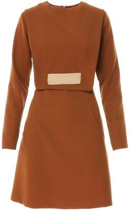Bluzat Brick Mini Dress With Unique Neck To Waist Belt Detail