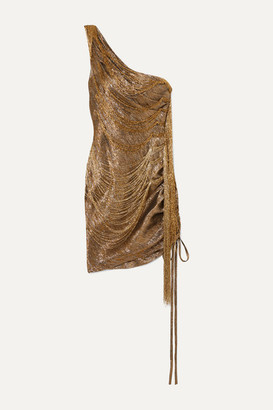 Oscar de la Renta One-shoulder Bead-embellished Silk-blend Lame Mini Dress - Gold