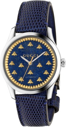 Gucci Bee Automatic Leather Strap Watch, 38mm