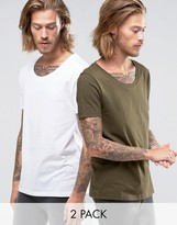 Asos 2 Pack T-Shirt With Scoop Neck In White/Green