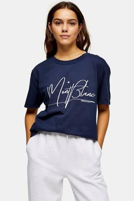 Topshop PETITE Navy Mont Blanc Print T-Shirt