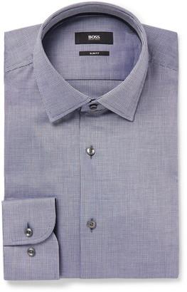 HUGO BOSS Navy Jesse Slim-Fit Jacquard-Trimmed Cotton-Poplin Shirt