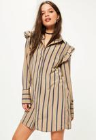 Missguided Stripe Print Frill Shoulder Shirt Dress