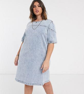 Only curve midi denim dress in blue