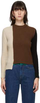 Marni Brown and Black Cashmere Patchwork Sweater