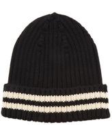 Junya Watanabe Striped-edge ribbed-knit wool hat