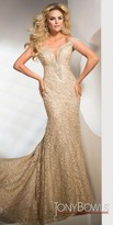 Tony Bowls Off the Shoulder Plunging Metallic Embroidered Evening Dress