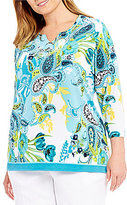 Allison Daley Plus Notch V-Neck Floral Paisley Print Tunic