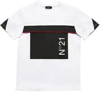 N°21 Cotton Jersey T-Shirt W/ Nylon Insert
