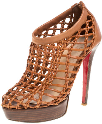 Christian Louboutin Brown Woven Leather 'Coussin 140mm' Platform Ankle Booties Size 36