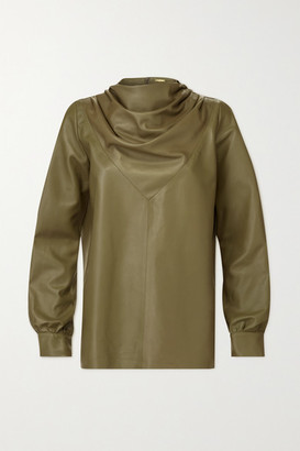 Dodo Bar Or Bilbi Draped Leather Blouse - Green