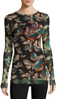 Fuzzi Long-Sleeve Embroidered Butterfly-Print Top