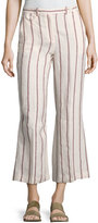 Theory Nadeema Wide-Stripe Linen Cropped Pants, White