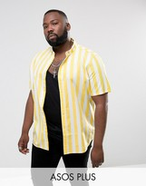 Asos Plus Regular Fit Stripe Shirt In Yellow