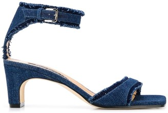 Sergio Rossi Denim Fringe Sandals