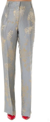 Dondup Silk & Linen Gold Embroidery Pants
