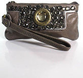 Marc by Marc Jacobs Taupe Leather Studded Gold Tone Wristlet