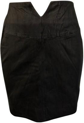 Eleven Paris Black Leather Skirt for Women