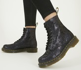 Dr. Martens 8 Eyelet Lace Up Boots Black Cracked Iridescent