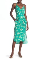 BCBGeneration Faux Wrap Floral Print High/Low Midi Dress