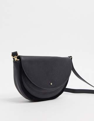 Urban Code Urbancode real leather and suede half moon cross body bag-Black