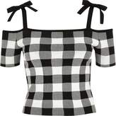 River Island Womens Black gingham cold shoulder crop top