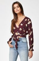 KENDALL + KYLIE Kendall & Kylie Tie Front Button-Down Long Sleeve Top