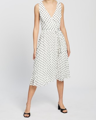 Dorothy Perkins Spot Wrap Pleated Midi Dress