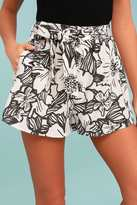 Lush Up the Coast Beige Floral Print Shorts