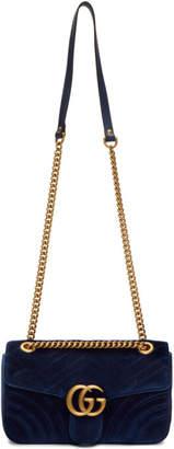 Gucci Blue Velvet Small GG Marmont 2.0 Bag