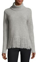 MICHAEL Michael Kors Fringe-Hem Turtleneck, Pearl Heather