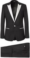 Dolce & Gabbana - Black Slim-fit Faille-trimmed Silk And Virgin Wool-blend Three-piece Tuxedo