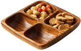 Camilla And Marc Premier Housewares Acacia Wood 4 Section Square Serving Dish, 5 x 20 x 20 cm