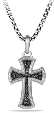 David Yurman Men's 27mm Black Diamond & Sterling Silver Knife-Edge Cross Amulet
