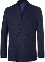 Hackett - Blue Slim-fit Double-breasted Cotton And Wool-blend Hopsack Blazer