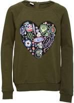 Diesel Girls Solidad Heart Print Sweatshirt Khaki