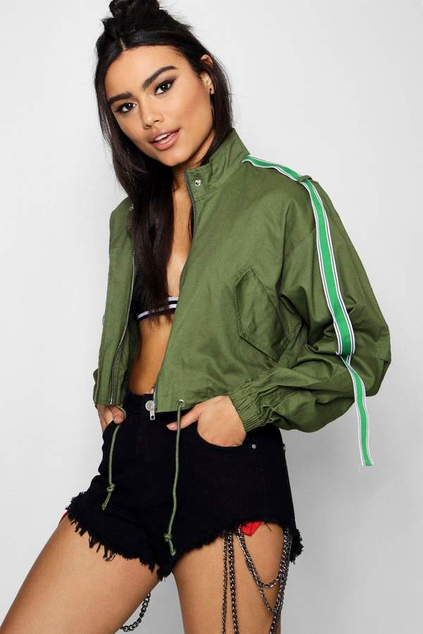 boohoo Cropped Utility Jacket With Sports Tape
