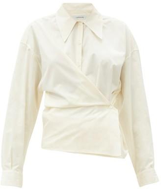 Lemaire Exaggerated-collar Cotton-poplin Wraparound Dress - Cream
