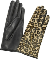Forzieri Women's Leopard Pony Hair and Italian Nappa Leather Gloves