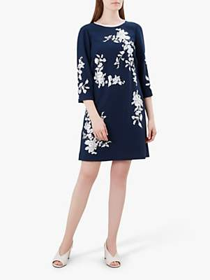 Hobbs Sunny Floral Dress, Navy/Ivory